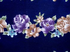 Fabric with Rows of Flowers in Blues on Etsy, $6.00