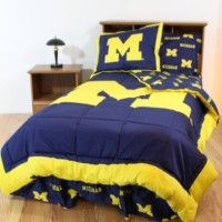 Michigan Bedding - College Covers Michigan Wolverines Bed-in-a-Bag - Team Color - SportsKids Superstore University Of Michigan Campus, Michigan Go Blue, Bed In A Bag, Man Room, Blue Bedroom, Master Bedroom, Michigan Wolverines, College Dorm Rooms, Comforter Sets