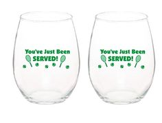 Youve Just Been Served Unique Tennis Wine Glass 15 oz Stemless Wine Glasses Set of 2 * Details can be found by clicking on the image.