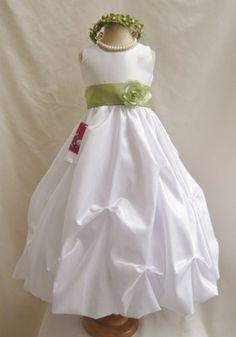 Flower Girl Dress WHITE/Green Sage PO1 Wedding Children Easter Bridesmaid Communion Green Sage Blue Royal Green Olive Green Olive Green