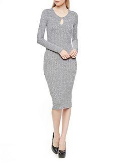 Long Sleeve Rib-Knit Bodycon Midi Dress with Keyhole Cutout