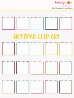 Notepad rainbow clip art collection 20 shades blank mockup