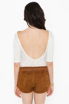 Plunging Lace Top - White