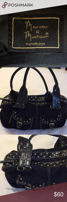 "Black Suede Studded Bag Black Suede Studded Bag - Gorgeous Bag for any occasion. 17 x 8 x 4.5. Handle drop 10"". Excellent Condition. Mercer and Madison Bags Shoulder Bags"