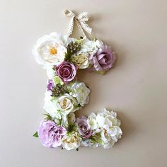 """Flower Letters with succulents, 18"""" Baby letters, Nursery letters,Floral monogram / Personalized nursery wall decor, Baby shower, Nursery wall art, Succulent minigarden, Succulent lover, Lavender and ivory nursery"""