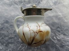 Beautiful Antique Handpainted Milk Glass Syrup Pitcher Cattails Ferns