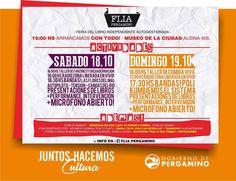 Feria de libro Independiente Autogestionada (FLIA) Museo de la Ciudad • 18 y 19/10 - 15hs Entrada libre y #gratuita