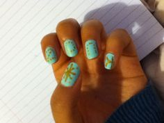 #BarryM texture nail paint in mint green with #revlon nail art expressionist Vincent van gold to create some lettering or your initials!