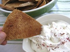 Homemade PIta Chips with Zatar and a recipe for Labne Olive Oil Dip