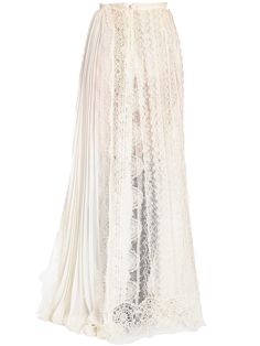 ERMANNO SCERVINO, Plisse chiffon & lace skirt, White, Luisaviaroma - High waisted. Concealed back zip closure . Sheer lace panels. Plisse chiffon panels. Unlined . Sample size: 40