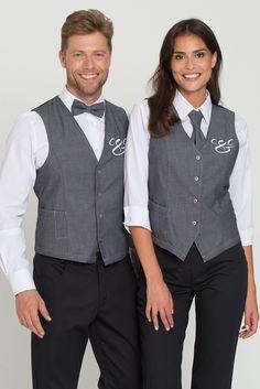 Selma Denim Women's Vest: The fashionable vest in a modern vintage-denim look is a real eyecatcher. With a waisted shape, feminine fit due to darts and . Staff Uniforms, Work Uniforms, Kellner Uniform, Waitress Outfit, Waiter Uniform, Women Wearing Ties, Cafe Apron, Hotel Uniform, Denim Look