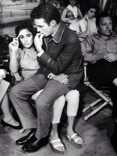"""Elizabeth Taylor & Montgomery Clift on the set of """"Raintree County"""" (1957)."""