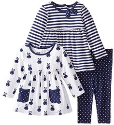 Little Me Baby Girls' Bunny 3 Piece Play Set, Navy/Multi, 18 Months Baby & Toddler Clothing, Toddler Outfits, Toddler Girl, Kids Outfits, Baby Girl Dress Patterns, Little Girl Dresses, Baby Dress, Little Girl Fashion, Kids Fashion