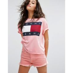 Tommy Jeans 90's T-shirt with Flock Logo (€47) ❤ liked on Polyvore featuring tops, t-shirts, pink, crew neck t shirt, american tees, pink top, tommy hilfiger and jersey t shirt