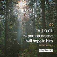 The Lord is my portion, therefore I will hope in him. - Lamentations 3:24 #GODisHOPE #Hope #Jesus