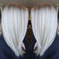 Platinum White Blonde Balayage - Straight Shoulder Length Haircut 2017