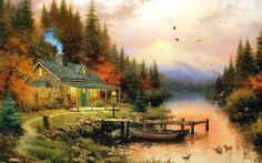 ~ The End Of A Perfect Day ~   By  Thomas Kinkade