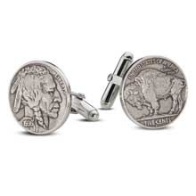 Cufflink with sterling silver finding - Minted from 1913 to 1938, the Buffalo nickel was designed by James E. Fraser from a composite of three prominent Native Americans: Iron Tail, Two Moons, and Chief John Tree.