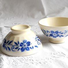 vintage French bowls, set of two, blue floral decor, cafe au lait bowl, shabby chic, cottage chic. €29.50, via Etsy.