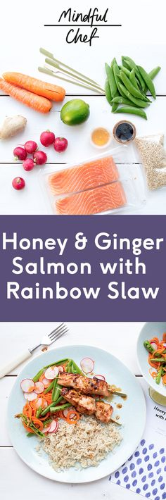 Healthy honey & ginger Salmon with Rainbow Slaw Fish Recipe gluten-free, dairy free, no refined carbs Easy prep We deliver all the pre-portioned ingredients needed to make our dinners in under 30 minutes Salmon Recipes, Fish Recipes, Whole Food Recipes, Cooking Recipes, Recipies, Honey Ginger Salmon, Vegetarian Recipes, Healthy Recipes, Savoury Recipes