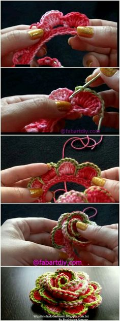 Rolled Rose Crochet Flower - Use as a Hair Clip