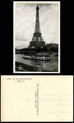 #France paris old real photo #postcard tour eiffel #tower ferry ferryboat boat sh,  View more on the LINK: http://www.zeppy.io/product/gb/2/152099776113/