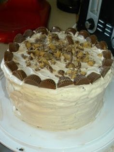 """Reese's"" Peanut Butter Cup Ice Cream Cake:  Conner's 3rd Birthday Party cake - was a hit!"
