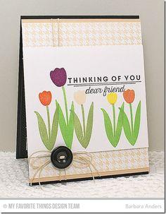 Spring Tulips, Houndstooth Background - Barbara Anders #mftstamps