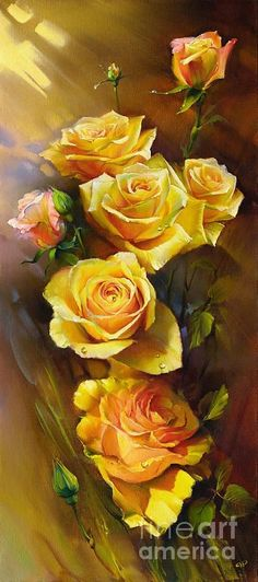 Yellow Roses by Roman Romanov - Yellow Roses Painting - Yellow Roses Fine Art Prints and Posters for Sale Arte Floral, Beautiful Rose Flowers, Exotic Flowers, Purple Flowers, Rose Art, Yellow Roses, Pink Roses, Beautiful Paintings, Belle Photo