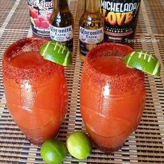 Who doesn't love a Micheladas! Try our special Micheladas Superbowl Cocktail! Our Micheladas Superbowl Cocktail is made with Clamato Cocktail, Fresh Lime Juice, Beer, Salt, and Ice! Cocktails, Party Drinks, Cocktail Drinks, Fun Drinks, Yummy Drinks, Cocktail Recipes, Alcoholic Drinks, Party Favors, Tipsy Bartender