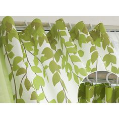 Lime Green and White Leaf Print Poly/Cotton Blend Country Living Room Curtains Green Curtains, Curtains Living, Black And White Effect, White Leaf, Formal Living Rooms, Leaf Prints, Traditional House, Cheap Home Decor, Country Living
