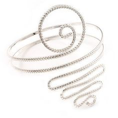 """Silver Plated Textured 'Spiral' Upper Arm Bracelet Armlet Avalaya. $17.91. Metal Finish: silver plated. Length: 29.0cm (11.42""""). Type: hammered. Occasion: club night out, cocktail party"""