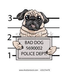 mugshot dog cartoon.