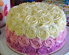 Ombre rose cake I did for my grandmother's birthday