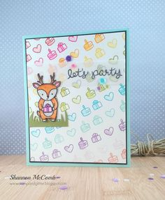 Stamp & Glitter: Watercolor rainbow featuring Party Animal from Lawn Fawn