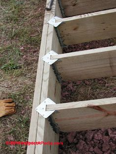 Deck joists on top of beams Deck Repair, Home Repair, Cabin Design, Deck Design, Deck Footings, Decking, Under Deck Drainage, Deck Patterns, Patio Stairs