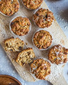 Grain-Free morning glory muffins made with almond flour and coconut sugar. these healthy muffins are a great breakfast or snack. Healthy Muffin Recipes, Healthy Food Blogs, Healthy Muffins, Healthy Treats, Gourmet Recipes, Healthy Baking, Healthy Foods, Sin Gluten, Smoothies