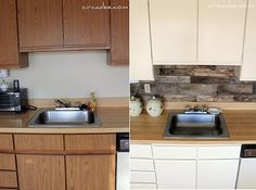 10 DIY backsplash ideas including this one made from pallet wood