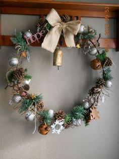 Wine barrel ring wreath with junk I found in a Christmas odds-and-ins box