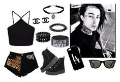 """""""Date with Ronnie :3"""" by dadyrabbit on Polyvore featuring Miss Selfridge, Topshop, Forever 21, T.U.K., Ray-Ban and Casetify"""