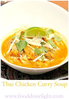 Thai Chicken Curry Soup - Food Done Light Thai Chicken Curry Soup, Healthy Chicken Curry, Sprout Recipes, Healthy Crockpot Recipes, Soups And Stews, Thai Restaurant, Healthy Eating, Meals, Dinner