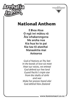 National Anthem - korero/speak Maori korina Louise sigvertsen the Maori Songs, Waitangi Day, Maori Symbols, Learning Stories, Zealand Tattoo, Maori Designs, Matou, Maori Art, National Anthem