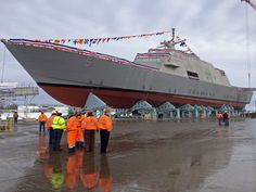 The fifth U.S. Navy ship to bear the name Milwaukee was christened in Marinette on December 18, 2013. The christening celebrateed the completion of a key portion of the USS Milwaukee at the Marinette Marine shipyard.