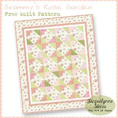 Grammy's Rose Garden Free Quilt Pattern- great beginner's project, perfect for scraps and charity quilts | JacquelynneSteves.com