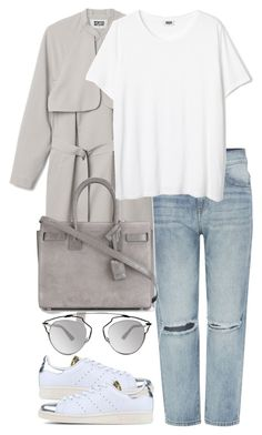"""""""Untitled #2580"""" by elenaday ❤ liked on Polyvore featuring Dr. Denim, KAROLINA, Yves Saint Laurent, Christian Dior and adidas Originals"""