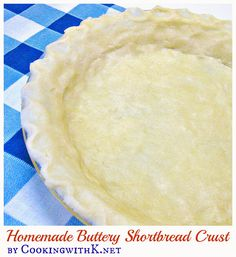 Easy Homemade Buttery Shortbread Crust is made with your hands and not a rolling pin. Melt the butter in a pie plate and add rest of the ingredients and mix. Using your hands pat dough around the pie plate into a crust. Taste just like a shortbread coo Shortbread Pie Crust, Homemade Shortbread, Homemade Pie Crusts, Pie Crust Recipes, Shortbread Recipes, Shortbread Cookies, Pie Cake, Pie Dessert, Dessert Recipes