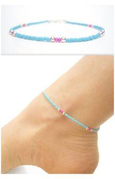 Diy Beaded Bracelets, Beaded Anklets, Anklet Jewelry, Anklet Bracelet, Bracelet Crafts, Beach Jewelry, Beach Bracelets, Handmade Bracelets, Beaded Earrings