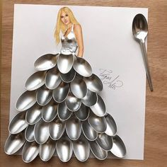 Dress made of spoons by Edgar Artis