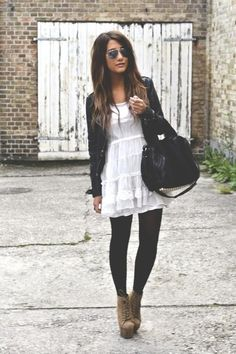 White Dress with Ruffle Hem, Black Leather Jacket, Black Leggings, Tan Lace Up Booties, Large Purse, Aviator Sunglasses, Ombre Hair.