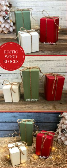 """How cute are these?! Simple, rustic Christmas decor. I love the twine bow to give it that finishing touch. Definitely """"need"""" for my Christmas decor this year! Set of three. Rustic Christmas decor, Christmas mantle decorations, Primitive Christmas decorations, Christmas decorations, Wood Christmas blocks. #Rustic #Christmasdecor #Woodenblocks #Wood #Affiliate #Homedecor"""